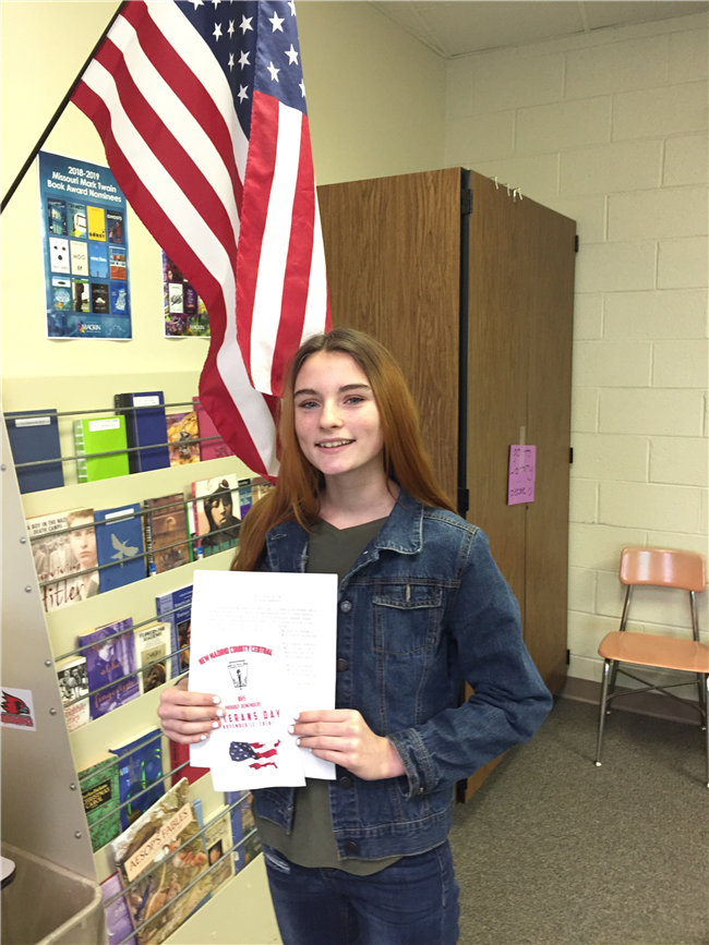 Congrats to Middle School VFW Patriot's Pen 1st Place Winner!